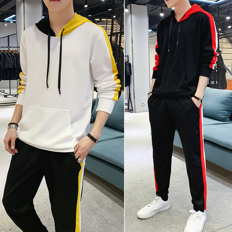 Spring And Autumn New Style Hot Selling MEN'S Casual Suit MEN'S Hooded Sweater Korean-style Sports Set Two-Piece Set