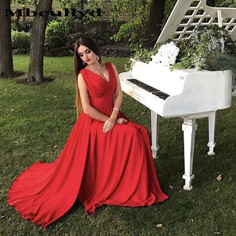 Mbcullyd Red V-neck   Prom     Dresses   Long 2019 Sexy Split Formal Evening   Dress   Party For Women robe de soiree Free Shipping