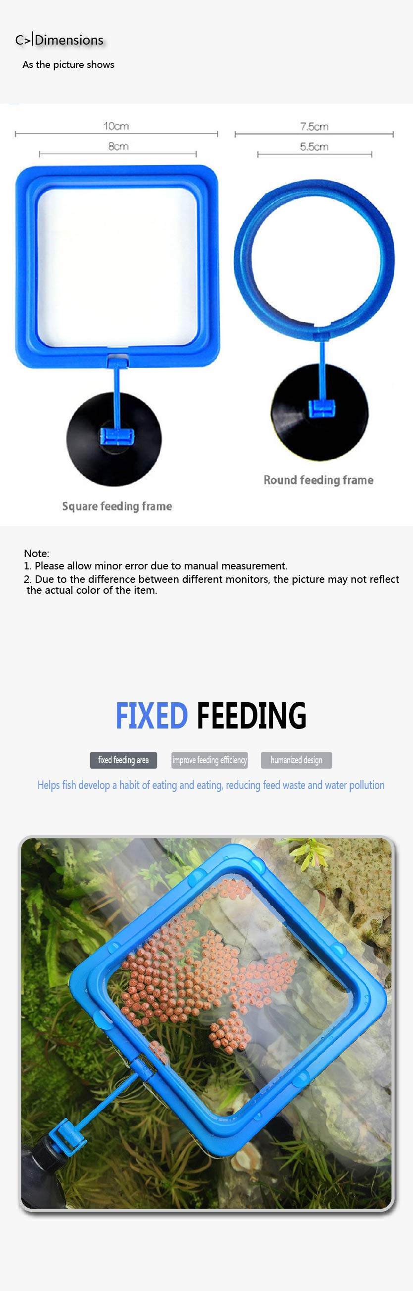 New Aquarium Feeding Ring Fish Tank Station Floating Food Tray Feeder Square Circle Accessory Water Plant Buoyancy Suction Cup 2 8
