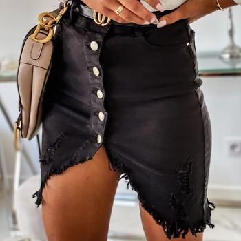 Women Ripped Denim Skirt 2020 Summer Fashion High Waist Skinny Tassel Irregular Hem Button Pencil Mini Skirt Streetwear D30