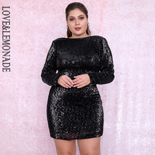 LOVE&LEMONADE PLUS SIZE Black Round Neck Bodycon Open Back Elastic Sequins Party Mini Dress LM80669PLUS