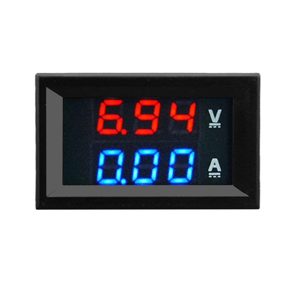 Амперметр постоянного тока 100 в 10 А, синий, красный светодиодный амперметр, Двойной цифровой вольтметр, цифровой вольтметр, амперметр
