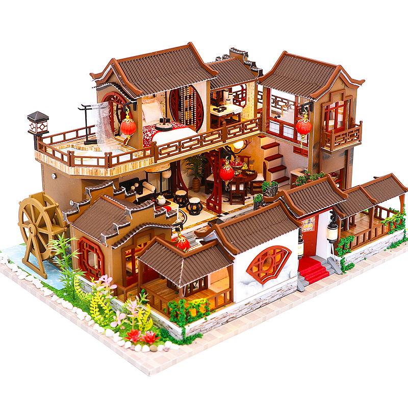 CUTEBEE Kids Toys Dollhouse With Furniture Assemble Wooden Miniature Doll House Diy Dollhouse Puzzle Toys For Children L905