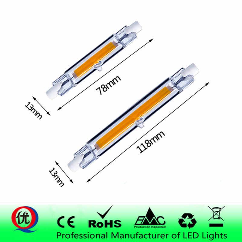 ABS R7S 118mm COB Mini szklana rurka LED 15W 50W wymień lampa halogenowa 220 V-240 V R7S 78mm, wydajne diody Led na światło punktowe żarówka