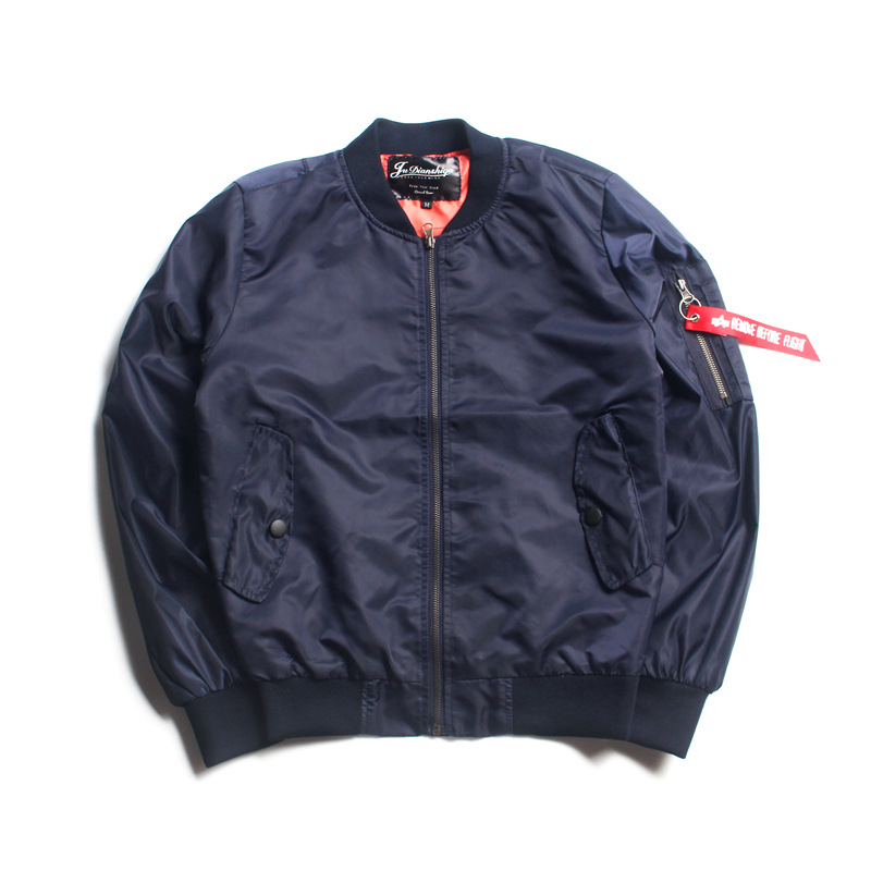 Autumn Hong Kong Style Origional Couples Air Force MA1 Pilots Double Layer Jacket Women's Solid Color Large Size Baseball Unifor image