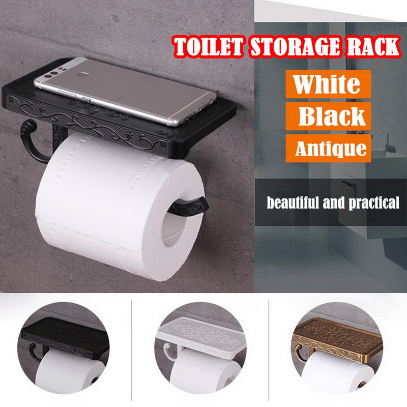 Bathroom Roll Paper Holder Wall Mount Aluminium Toilet Tissue Storage Rack With Mobile Phone Storage Shelf for Bathroom Kitchen|Storage Shelves & Racks| |  - title=
