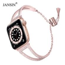 JANSIN יהלומי שעון להקות עבור אפל שעון 38mm 42mm 40/44mm iwatch להקת סדרת 6 SE 5 4 3 נירוסטה רצועת נשים צמיד