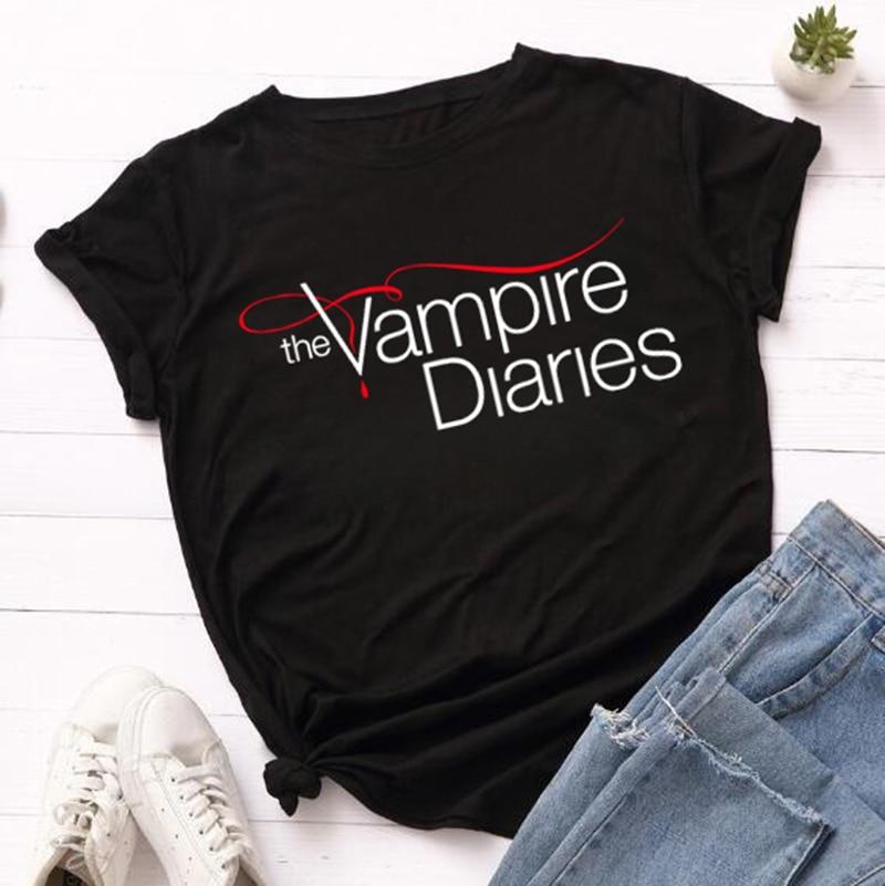 The Vampire Diaries Tshirt Summer Loose Tee Shirt Femme Girls Ulzzang Casual T Shirt Harajuku Kawaii 90s Cool T-shirt Streetwear