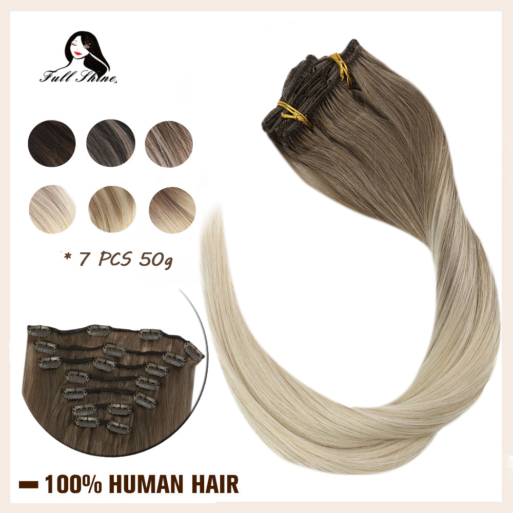 Full Shine Clip In Hair Extensions Balayage Color 7 Pcs Only 50g Clip Hair 100% Machine Made Remy Human Hair Dip Dyed Extensions