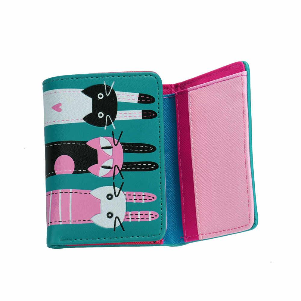 Женский короткий кошелек для монет с рисунком животных, кошелек с зажимом для денег, каваи, кошки, искусственная кожа, водонепроницаемый мини-кошелек, мульти-удостоверение личности, держатель