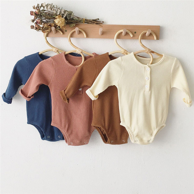 Newborn Baby Girl Boy Bodysuit Knitted Autumn Winter One-Pieces Solid Jumpsuit Long Sleeve Outfits Spring Baby Sunsuit Clothing
