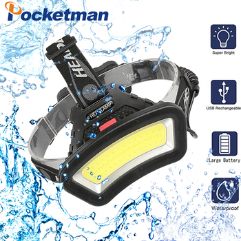 Lighting Distance Wide Angle COB LED Headlight Use 2x18650 Battery led HeadLamp USB rechargeable Lantern For Hike Outdoor