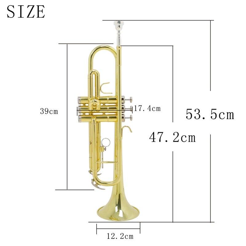 Bb труба B плоская латунная позолоченная изысканный прочный музыкальный инструмент с мундштуком перчатки ремень латунная Золотая Труба - 3