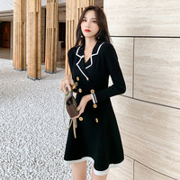 Early autumn the new French vintage dress POLO brought the double breasted bump color long sleeve knit sweater dress