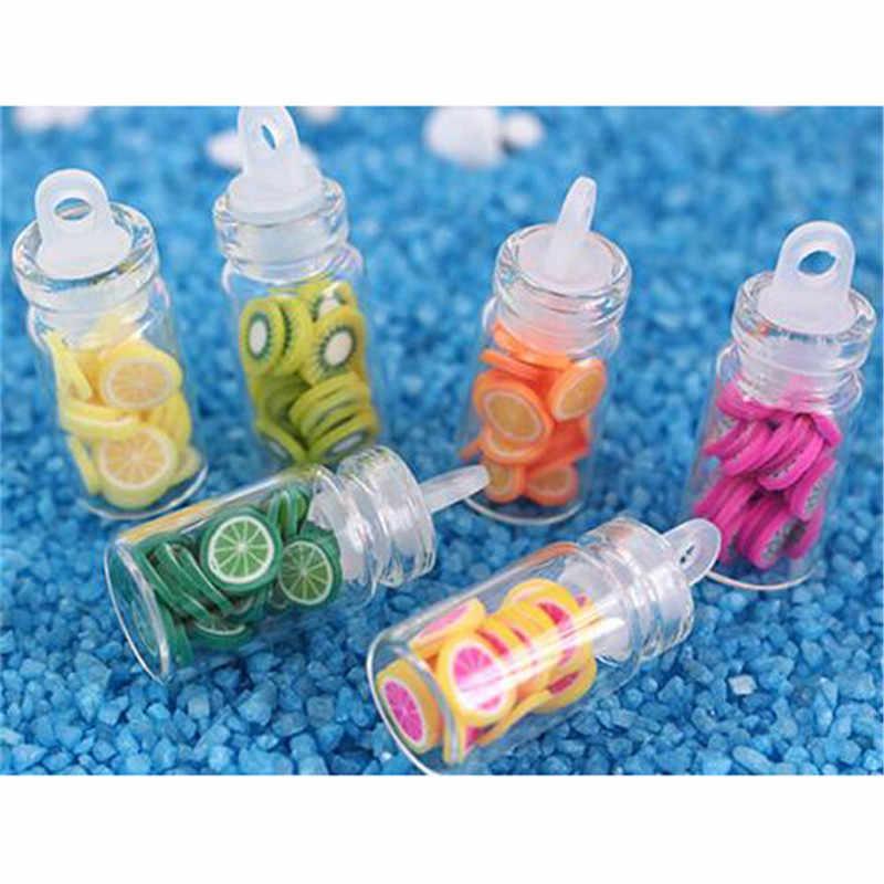1:12 Dollhouse miniaturowe Mini plastry owoców szklane butelki do przechowywania butelek Jar drewniane pokrywy akcesoria dla lalki