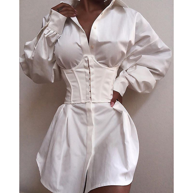 Female Pleated Blouse Dress Casual Women Autumn All-match Concise Deep V-neck Sexy Fold Batwing Sleeve Elegant Shirt Dress