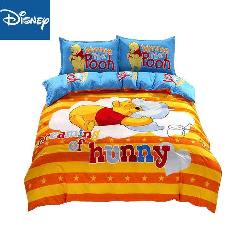 Disney Cartoon Winnie Pooh Piglet Tigger Bedding Set Queen Size Duvet Cover Set For Kids Flat Sheet Bedspread Birthday Gift Hot