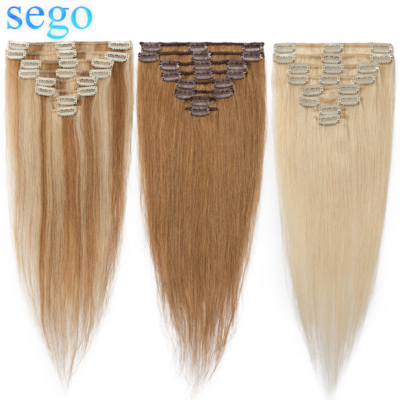 """SEGO 16""""-22"""" 65g-75g Straight Clip In Human Hair Extensions Non-Remy Hair Clip Ins Pure And Piano Color Human Hair 8pcs/set"""