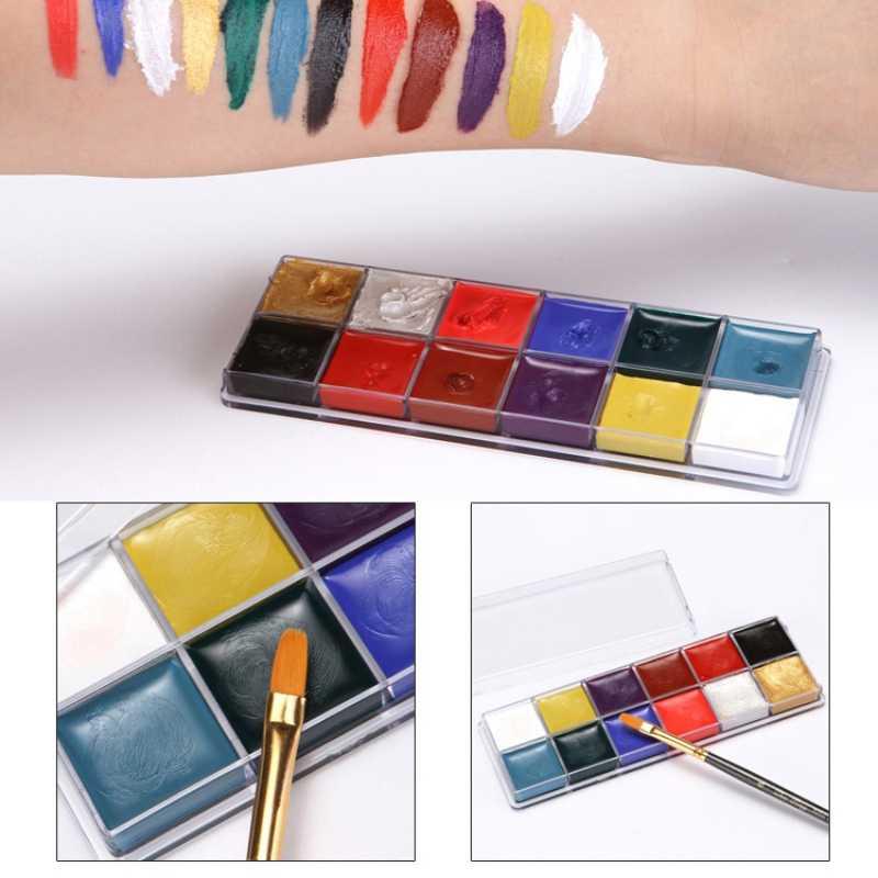 12 สีสี Pigment แต่งหน้าฮาโลวีนแสดงเฉพาะภาพวาดศิลปะแฟนซีแต่งหน้าความงาม Y1
