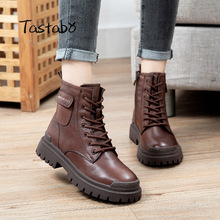 Shoes Zip Women Boots Genuine-Leather Ankle S1630 Handmade Round-Toe Retro New