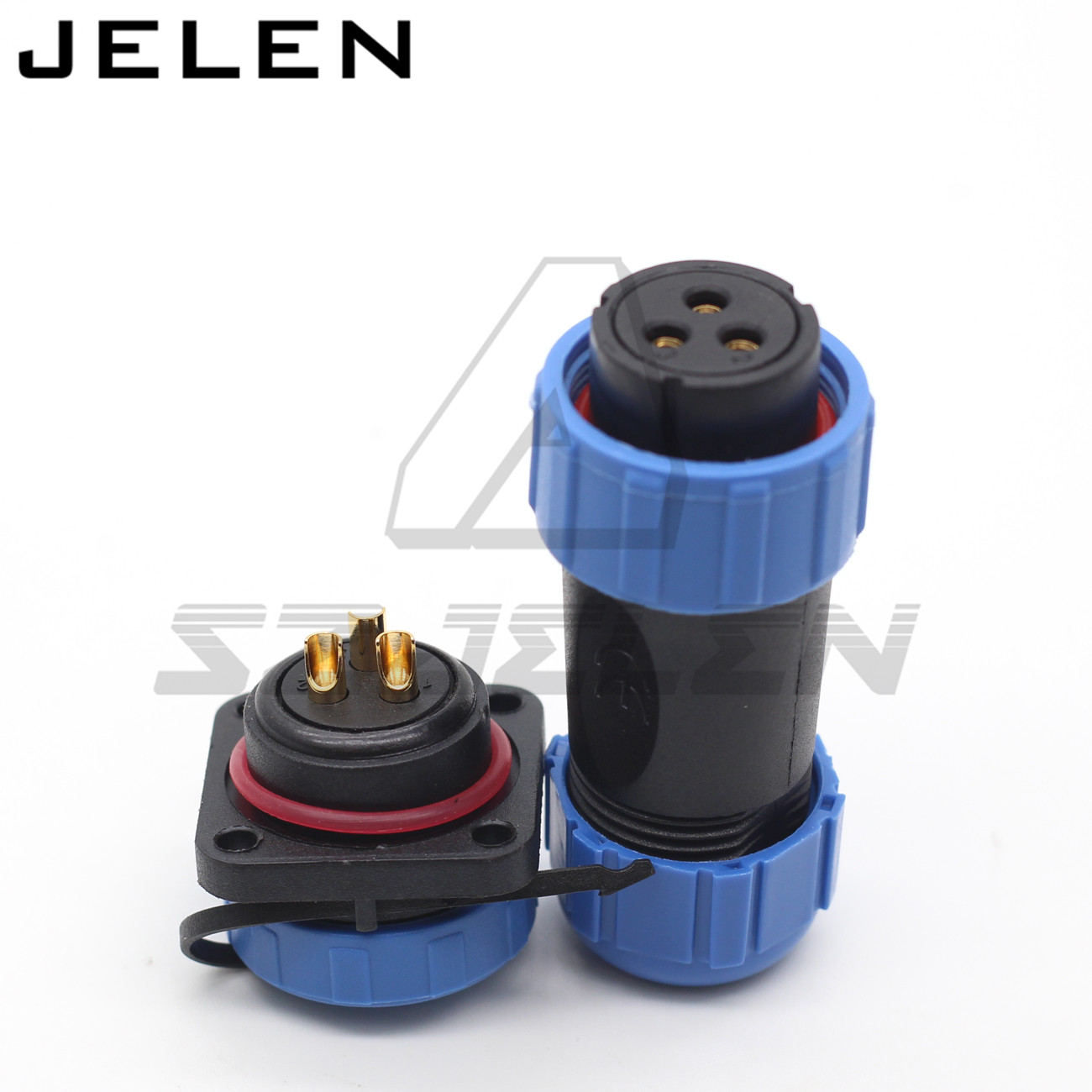 SP21 waterproof connector plug and socket with flange 4 hole3 pin IP68 Automotive connector power cable connector|Connectors| |  - title=