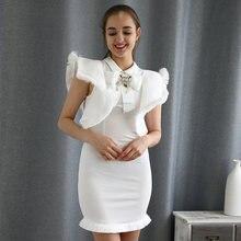 Женское облегающее мини платье без рукавов белое с оборками