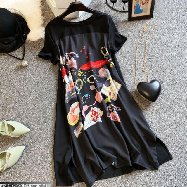 Casual Long Dress Short Sleeves Loose Vintage Spliced Floral Pattern  1