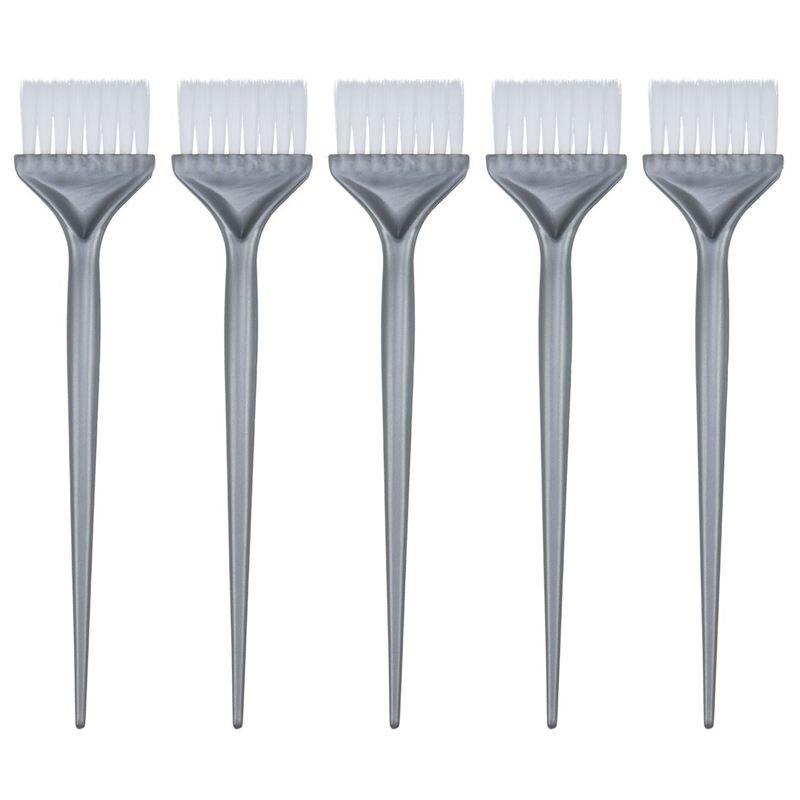 NEW-5 Pack Hair Dye Coloring Brushes Hair Coloring Dyeing Kit Handle Salon Hair Bleach Tinting DIY Tool, Silver Grey