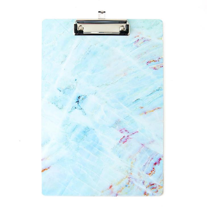 1 Pcs Cute A4 Marble Series Clipboard File Folder Stationary Board Hard Board Writing Plate Clip Document File Folders Gifts Blu