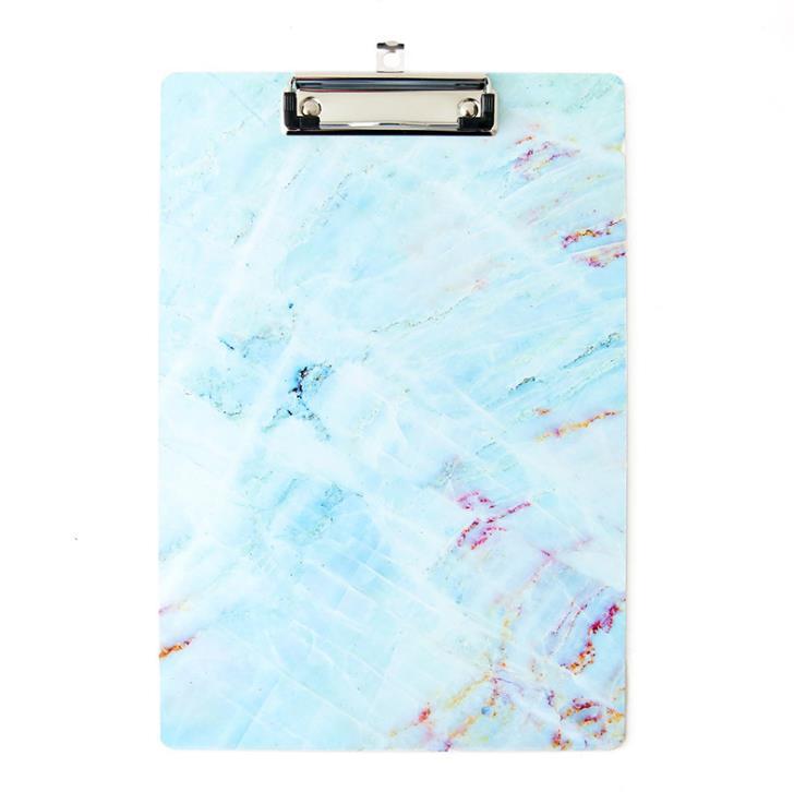 1 Pcs Cute A4 Marble Series Clipboard File Folder Stationary Board Hard Board Writing Plate Clip Document File Folders Gifts Blu