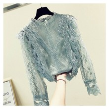 fashion womens tops and blouses 2019 stand collar sexy hollow lace blou