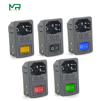 цена на 10A 250VAC 3 Pin iec320 C14 inlet connector plug power socket with red lamp rocker switch 10A fuse holder socket Power Switch