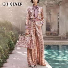 CHICEVER Vintage Womens Suit Lapel Collar Lace Up Lantern Sleeves Shirt High Waist Sashes Long Pants 2 Piece Set Female 2019