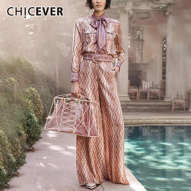 CHICEVER Vintage Womens Suit Lapel Collar Lace Up Lantern Sleeves Shirt High Waist Sashes Long Pants 2 Piece Set Female 2019
