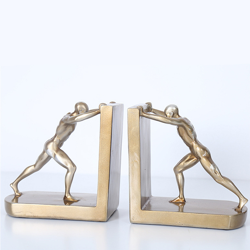 1 Pair Decorative Book Shelf Bookends, Golden Man Pushing Book Support, Book Stopper Ornaments Resin Craft for Home Cabinet
