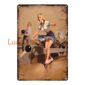 Винтажная табличка в стиле ретро для девочек, металлическая Жестяная Табличка, Декор стен гаража