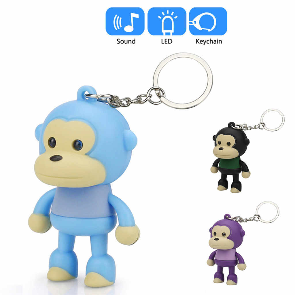 Cute Cartoon małpa brelok z LED Light Sound pilot New Fashion śliczne brelok dzieci PU łańcuch torba do zabawy telefon brelok na prezent # ZH
