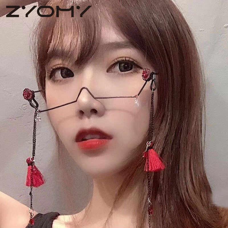 Luksusowy kryształ dekoracja z wisiorków pół ramki okulary bez łańcucha kobiety okulary vintage stop bez soczewek dziewczyny diamentowe okulary