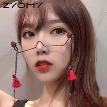 Diamond Glasses Half-Frame Crystal No-Lens Women Luxury Alloy Q Pendant-Decoration No-Chain