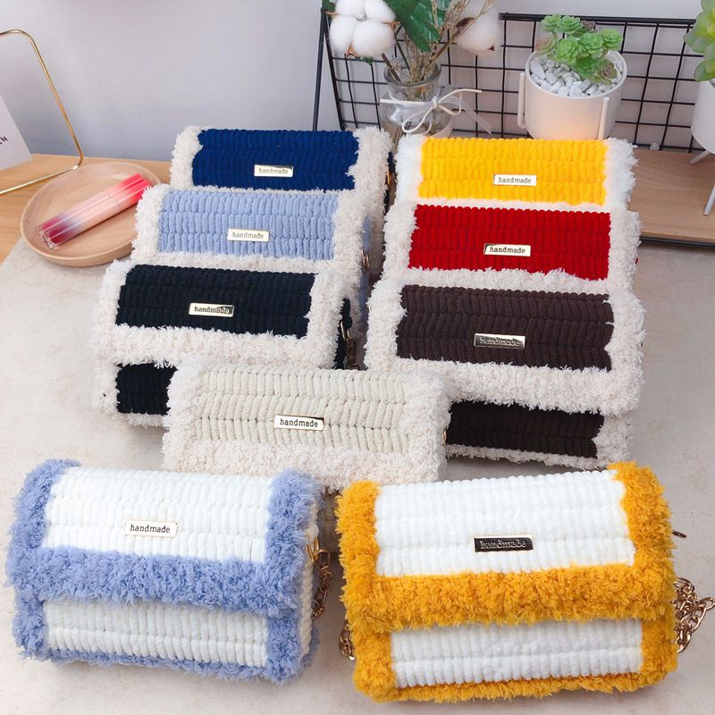 Самодельные сумки, домашняя плетеная Сумка, шерстяная сумка через плечо для женщин, сумка-мессенджер, плюшевые вязаные сумки, подарок для де...