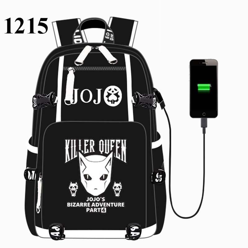Black JoJo's Bizarre Adventur USB Port Backpack Bag School Book Students Outdoor Shoulder Book Bag Rucksack Cosplay