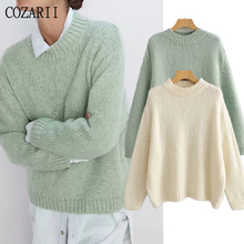 England elegant vintage solid o-neck winter sweaters women mohair oversize loose pull femme pullovers