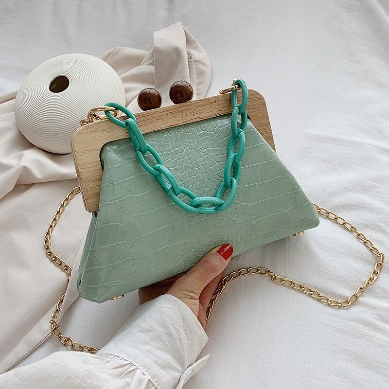 VeryMe Pu Leather Wooden Clip Messenger Bag Solid Color Female Handbag Purse Simple Women's Shoulder Pack New Tasche Damen Leder