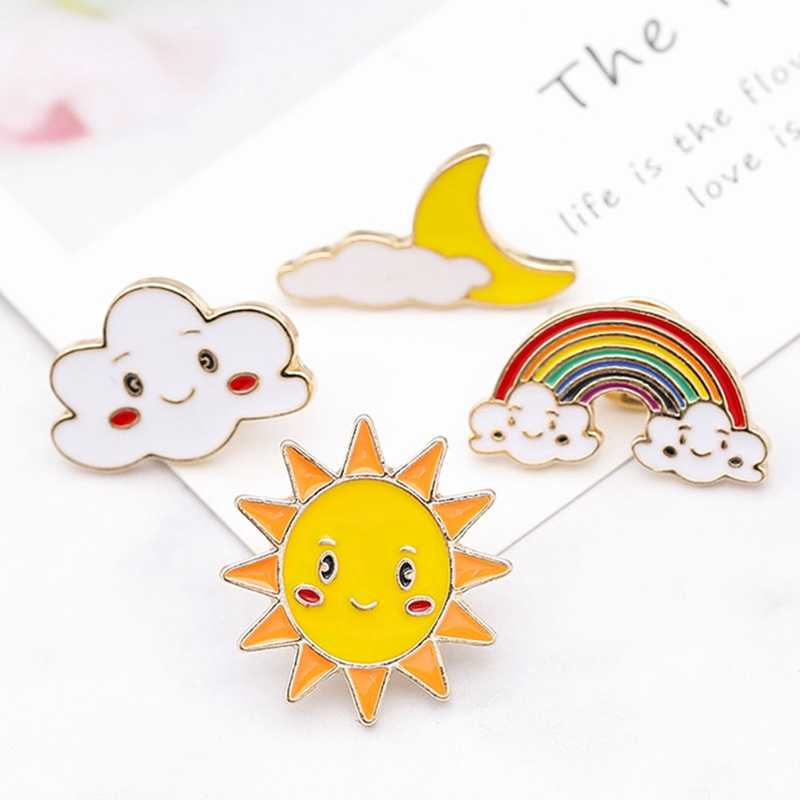 Fashion Cartoon Rainbow Sun Moon Cloud Brooch Cute Metal Enamel Brooches Jewelry Jackets Backpack Lapel Pin Badge Gift