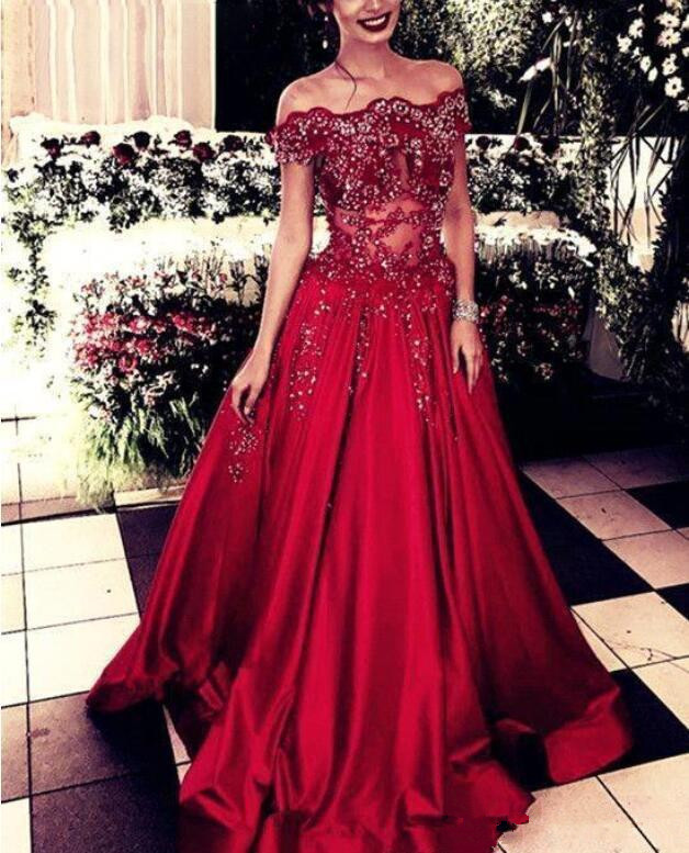 Off The Shoulder Applique Beading See Through Long Prom Dresses 2019 Red A Line Arabic Party Formal Evening Gown Prom Dress