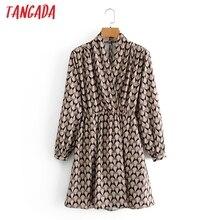 Tangada Fashion Women Geometry Print Dress V Neck Spring New Arrival Long Sleeve Ladies Mini Dress Vestidos 3A05