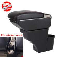 For Nissan Note Armrests central storage box car armrest box  modification accessories with USB LED light Easy to install
