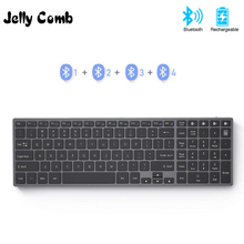 Jelly Comb Bluetooth Keyboard for iPad Tablet Laptop Compatible with IOS Windows Metal Rechargeable Keyboard AZERT French/Russia