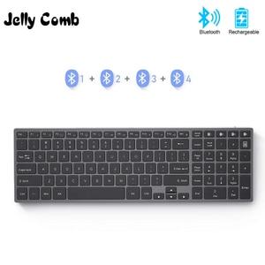 Image 1 - Jelly Comb Bluetooth клавиатура для iPad, планшета, ноутбука, совместима с IOS, Windows, металлическая перезаряжаемая клавиатура AZERT, Франция/Россия