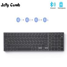 Jelly Comb klawiatura Bluetooth do tabletu iPad Laptop kompatybilna z systemem Windows IOS metalowa klawiatura do ładowania AZERT French/Russia